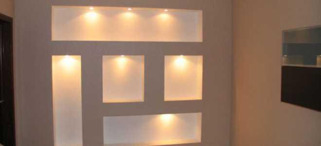 Ниша из гипсокартона с подсветкой своими руками, устройство закрытого углубления в стене, как установить светодиоды для скрытого освещения, инструкция, фото и видео-уроки