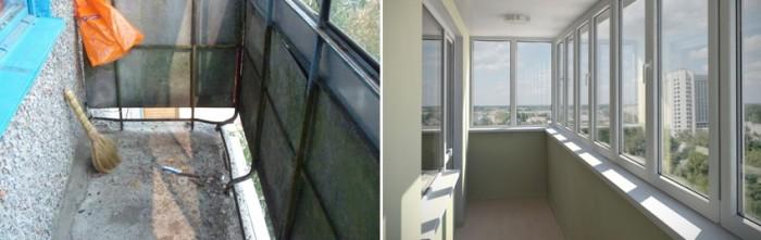 Вид балкона без отделки и с отделкой изнутри