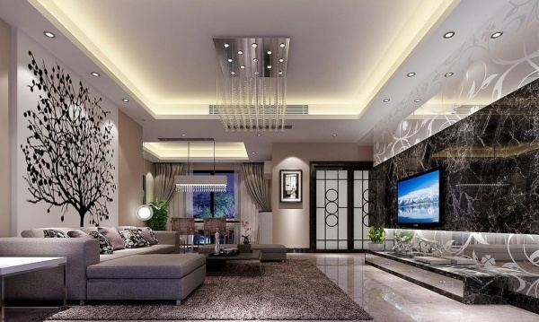 Дизайн двухуровневого потолка в гостиной