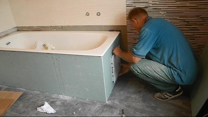 Обшивка влагостойким гипсокартоном ванной