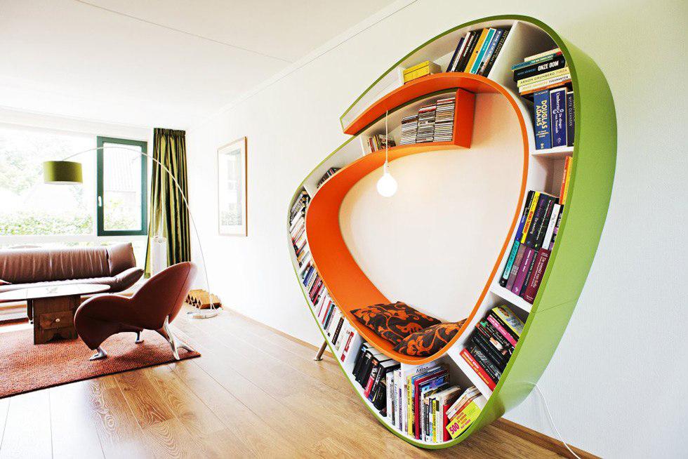 Стильная гипсокартонная конструкция для книг