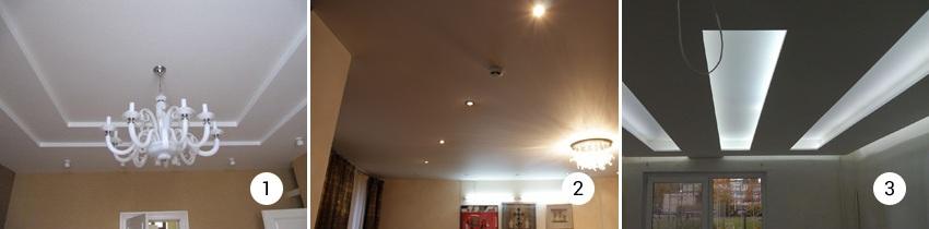 Подсветка на потолках из гипсокартона