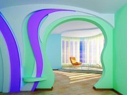 Декоративная арка, созданная посредством гибкого гипсокартона.