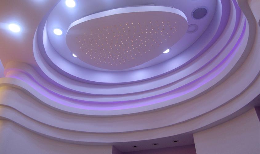 Многослойный фигурный потолок из листового гипсокартона