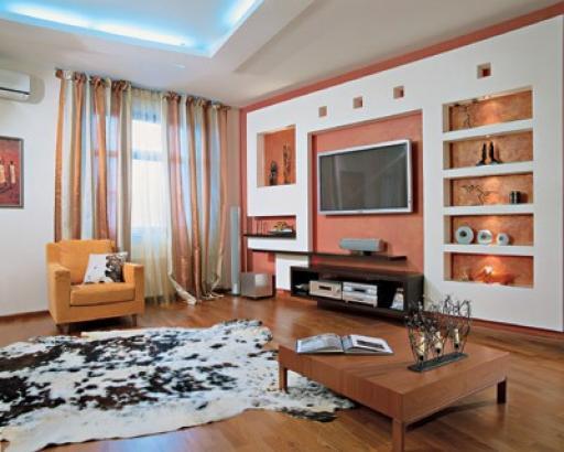 гипсокартонные конструкции в гостиной