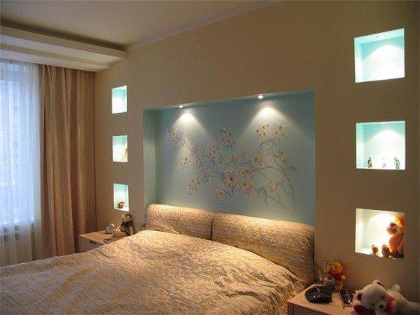 гипсокартонные ниши в спальне