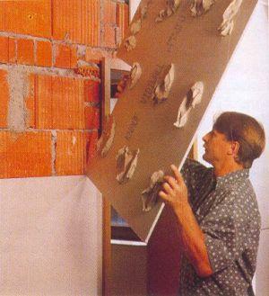 как закрепить гипсокартон к стене