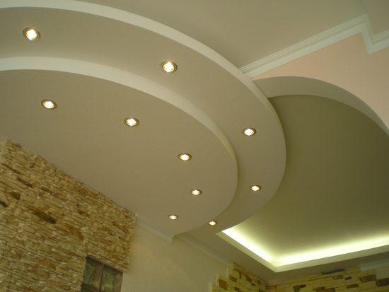 конструкции из гипсокартона на потолке