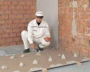 крепление гипсокартона к стене без профилей