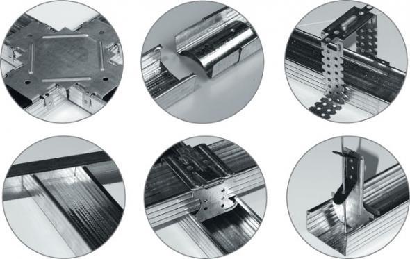 Методы крепления направляющих (слева-направо): одноуровневый, удлинение ПП, с помощью прямого подвеса, напрямую к стене, двухуровневый и подвес