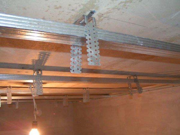 монтаж подвесных потолков из гипсокартона своими руками