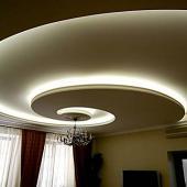 монтаж потолков из гипсокартона с подсветкой