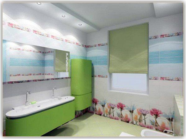 На фото показан вариант устройства потолка из ГКЛВ в ванной.