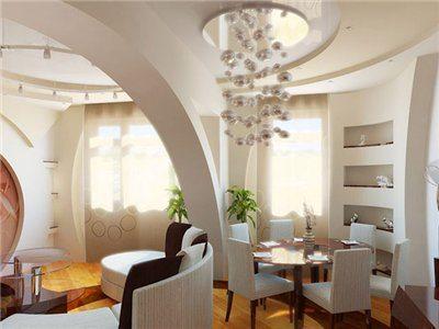 На фото – пример разделения аркой столовой и гостиной зоны