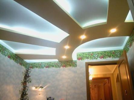 оформление потолка гипсокартоном