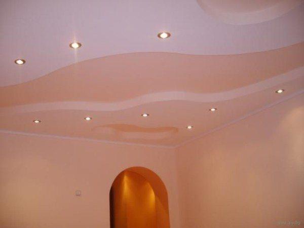 потолки из гипсокартона в зале