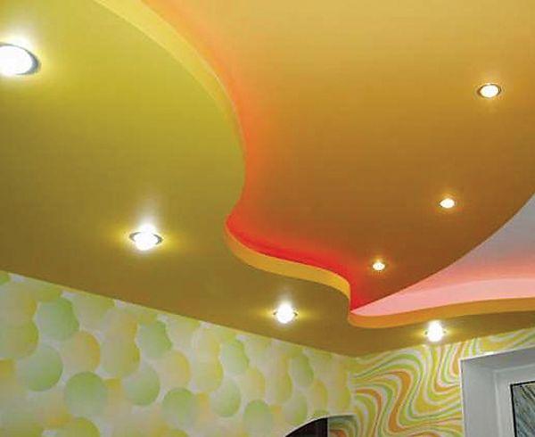 потолки из гипсокартона варианты