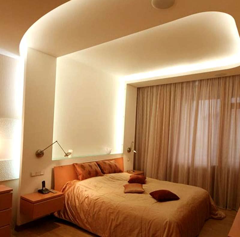 потолки в спальне из гипсокартона