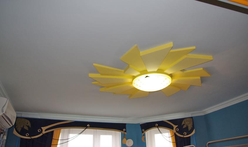 Оформление детской с помощью потолка из гипсокартона