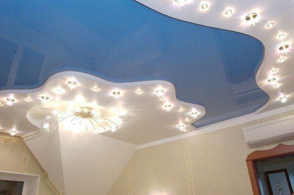 потолок натяжной с гипсокартоном