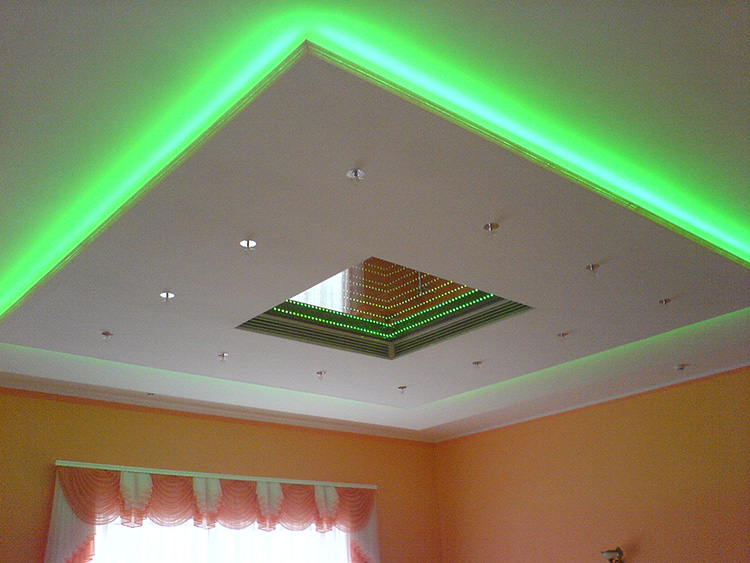 Гипсокартонный потолок со светодиодной подсветкой