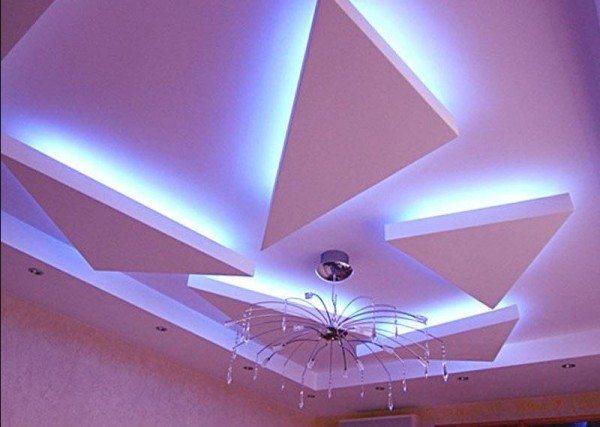 потолок в гостиной из гипсокартона