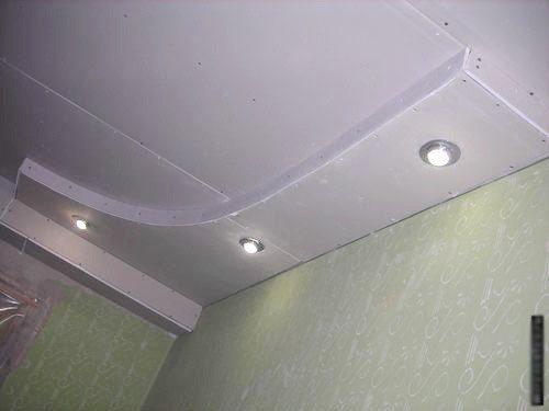 простые потолки из гипсокартона