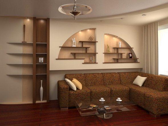 Стеновая ниша в интерьере современной гостиной