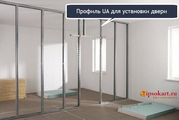 ustanovka dveri v peregorodku iz gipsokartona 4
