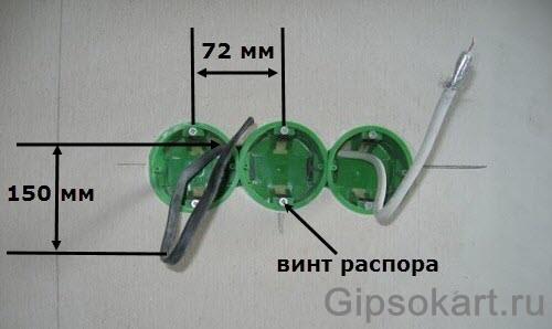 установить подрозетник в перегородку из гипсокартона