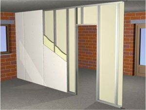 Визуализация стены из гипоскартонных систем с утеплителем внутри в разрезе